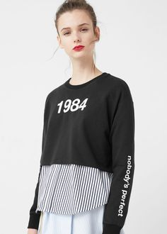 Cropped cotton sweatshirt | MANGO