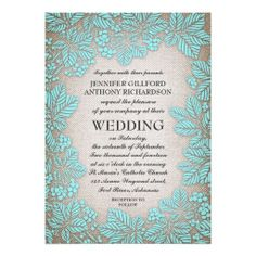 burlap and turquise - light blue lace rustic wedding invitation