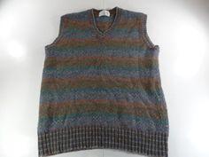 Vintage Shetland Wool Mens V Neck Sweater Vest Striped Size Large Multi Color #ArrowBrigade #Vest