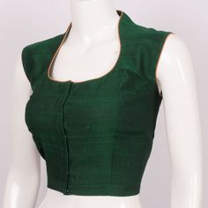 Handcrafted Cotton Blouse With Sleeveless & Collar Neck 10013274 - Size 40 Simple Blouse Designs, Saree Blouse Neck Designs, Kurti Neck Designs, Blouse Patterns, Dress Designs, Salwar Designs, Sleeveless Saree Blouse, Long Blouse, Clothes
