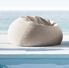 RH's Bean Bag:The relaxed, unconstructed bean bag heads outdoors, offering sink-in comfort and portable repose in premium, weather-hardy Perennials® or Sunbrella® fabrics. Modern Bean Bag Chairs, Modern Bean Bags, Oversized Bean Bags, Outdoor Bean Bag Chair, Bean Bag Seats, Large Chair, Living Furniture, Outdoor Furniture, Cottage Furniture