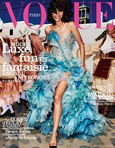 Mica Arganaraz covers Vogue Paris November 2015 in Atelier Versace shot by Mario Testino [Cover]