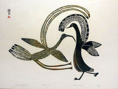 Lucy Quinnuayuak, Birds courting, 8/50, 1967/10 1967, Stonecut