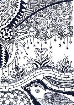 Doodle art, zentangle y doodles. Mandalas Drawing, Zentangle Drawings, Doodles Zentangles, Doodle Drawings, Tangle Doodle, Tangle Art, Zen Doodle, Doodle Bear, Doodle Patterns
