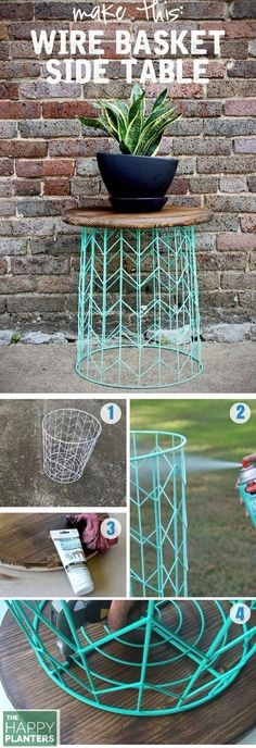DIY OF THE WEEK : Side table from a wire basket - a 20 minute DIY Basket: Target (there are some of this Right now on the Sales Spot for $3) Ross has some cheap options as well. Spray Paint: Recommend Rust oleum or Valspar. Table Top: Just take the top of an old Stool or old table, I find some great options at the Thrift Store. #LogFurniture