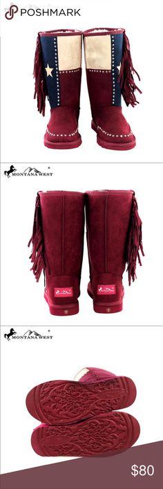 e8c1918bf0d1c6 Montana West Texas Pride Fringe Boots Size 6 NEW Boutique