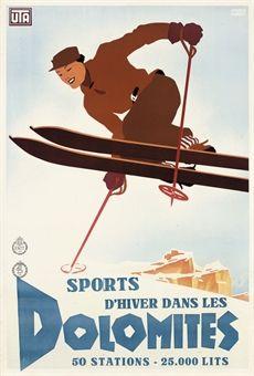 vintage ski poster - PUPPO, MARIO (1905-1977) SPORTS D'HIVER DANS LES DOLOMITES