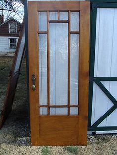 31 7 8 X79 5 8 Antique Oak Exterior Entry Front Door 10 Clear Glass Panes
