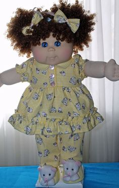 Cabbage Patch Doll cloths - Girls Yellow Pj's set- hair bows- slippers- size 20