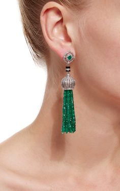 Sanjay Kasliwal Emerald Tassel Earrings - Preorder now on Moda Operandi - Govind Soni.