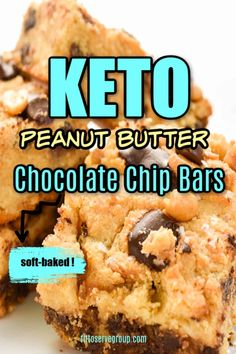 These easy, delicious Keto Peanut Butter Chocolate Chip Bars are loaded with peanut butter and chocolate goodness. They are thick and oozing with peanut butter and melty sugar-free chocolate chips make these the perfect little low carb treat. Chocolate Chip Bars, Sugar Free Chocolate Chips, Butter Chocolate Chip Cookies, Chocolate Peanut Butter, Low Carb Sweets, Low Carb Desserts, Low Carb Recipes, Diabetic Desserts, Diabetic Recipes