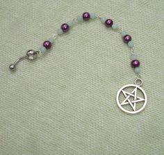 Aquamarine Gemstone and Pentagram Belly Button Ring - Body Jewelry