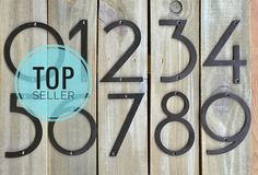 Extra large address numbers in durable solid steel (stronger than cast iron) really stand out! They dress up a front door or can add a unique styling to a fence, mailbox or light post. The modern font is truly different from what is found in the stores! The funky style has numbers that are all 7 tall and the zero is a perfect circle! Choose from my custom colors plus matte black, copper, pewter, silver or dark oil-rubbed bronze (shown) They can be distressed or not, depending on your taste…