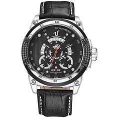 49.94$  Buy here - http://aliwfe.shopchina.info/go.php?t=32792857386 - Fashion Casual Black Watch Men Quartz Genuine Leather Strap Watches 30m Waterproof Golden Clock Analog Calendar Men's Wristwatch 49.94$ #buymethat