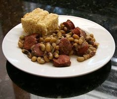 Smoked Sausage and Black-Eyed Pea Casserole....Perfect for New Years' get-togethers....Eat black-eye peas on New Years day for luck the rest of the year.  Great potluck dinner!