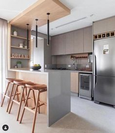 Kitchen Bar Design, Kitchen Layout, Home Decor Kitchen, Kitchen Living, Interior Design Kitchen, Kitchen Furniture, Small Modern Kitchens, Home Room Design, Cuisines Design