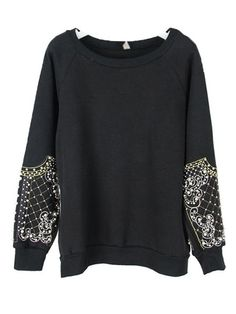 Embroidery And Beaded Pearls Decorative Cuff Sweatshirt $69.99