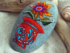 Red Vase Happy Flower / Painted Rock / Sandi by LoveFromCapeCod, $55.00