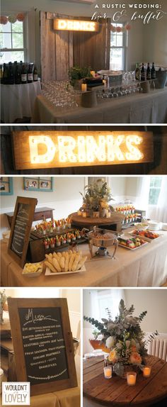 Rustic Wedding Bar and Food Display Table, custom marquee sign, Wouldn't it be Lovely