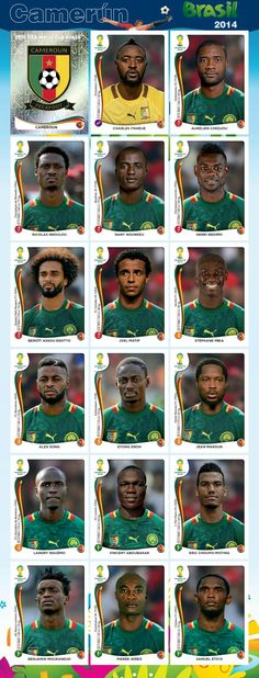 Equipo - Camerún - Mundial Brasil 2014 Best Football Team, Football Cards, Football Soccer, Football Players, World Cup 2014, Fifa World Cup, Colombia Soccer, America Album, Soccer World