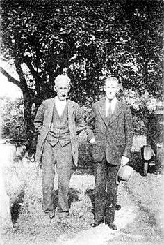 """Lovecraft with old amateur press friend """"Tryout"""" Smith."""