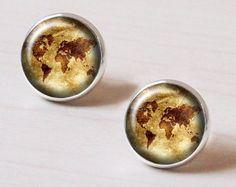 world map earrings – Etsy NO