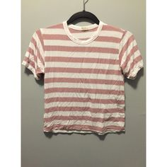 Brandy Melville Striped Shirt Red & White Brandy Melville striped shirt, only worn a few times really good condition. Its one size fits most, it fits like a small / x-small Brandy Melville Tops