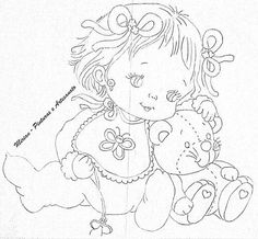 Menina Baby Embroidery, Hand Embroidery Patterns, Baby Coloring Pages, Coloring Books, Painting Patterns, Fabric Painting, Doll Patterns, Quilt Patterns, Children Sketch