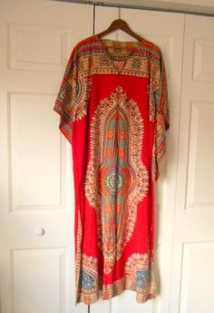Vintage boho cotton Dashiki Kaftan maxi Dress by houuseofwren