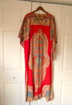 Vintage boho cotton Dashiki Kaftan maxi Dress by houuseofwren