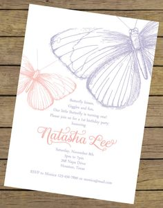 Butterfly Birthday Invitation By CharlesAlexDesign Garden Party Wedding Theme