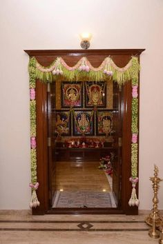 Flora wedding planners- Coimbatore amazing decor concepts for Indian wedding. - Indian Ethnic Home Decor Indian Home Interior, Indian Home Decor, Diy Home Decor, Temple Room, Temple Design For Home, Indian Room, Pooja Room Door Design, Puja Room, Indian Living Rooms