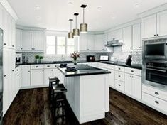 Best Online Cabinets sells aspen white shaker kitchen cabinets directly to you. Choose from our wide selection of white shaker kitchen online. Grey Kitchen Designs, Kitchen Design Open, Interior Design Kitchen, Glazed Kitchen Cabinets, White Shaker Kitchen Cabinets, Black Countertops White Cabinets, Cupboards, Kitchen Island, Home Design