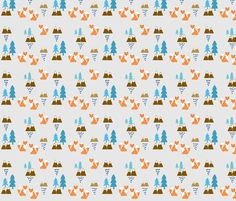 Meadow Fox 45 SMALL -blue Silver navy rain fabric by drapestudio on Spoonflower - custom fabric