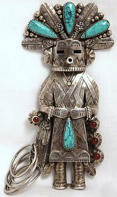 """Vintage 4.5"""" Sterling 925 Silver Turquoise Carnelian Kachina Doll Bolo Ornament"""