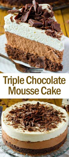 Triple Chocolate Mousse Cake Delicious Recipes is part of Triple chocolate mousse cake - Triple Chocolate Mousse Cake, Chocolate Mousse Recipe, Chocolate Desserts, Cake Chocolate, Chocolate Mousse Cake Filling, Decadent Chocolate, Chocolate Hazelnut, Dessert Party, Just Desserts