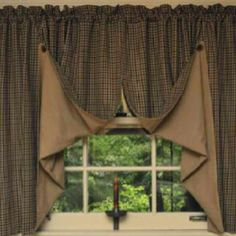 Homespun Country Curtains Fold Up Flaps