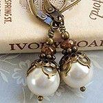 Cloud Cap Jewelry Antiqued Brass Swarovski Pearl Earrings