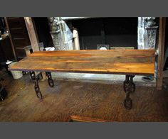 Nautical Anchor Chain Leg Salvaged Wood Dining Table. This may be purchased on ecofirstart.com