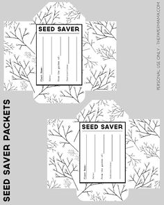 Seed Saver Packet Printables Free - The Paper Mama Seed Packet Template, Designers Gráficos, Seed Packaging, Seed Bank, Garden Journal, Organic Gardening, Vegetable Gardening, Veggie Gardens, Seed Packets