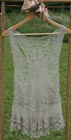 gypsy vintage look sheer lace tank storm grey boho by BeeCharmerCo, $36.00