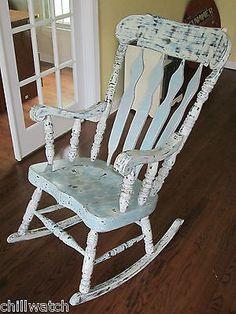 Shabby Seashore Beachy Chic Weathered Rocking Chair Annie Sloan Chalk Paint    EBay