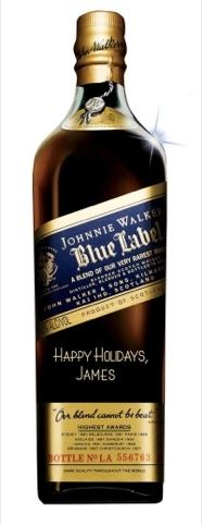 Personalized Johnnie Walker engraved bottles for the holidays #packaging