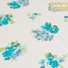 jubelis® Outdoor-Tischwäsche Premium Gewebe-Wachstuch extradick Gilles mit Blumen türkis