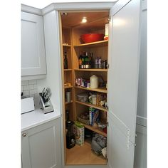 Never Before Told Story About Corner Pantry Cabinet Kitchen Cupboards That You Really Need to Read or Be Left Out - Homegoodinspira Corner Larder Cupboard, Corner Kitchen Pantry, Larder Unit, Real Kitchen, Kitchen Cupboards, Kitchen Storage, Small Pantry, Grey Kitchen Inspiration, Design Inspiration