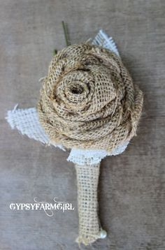 Burlap and Lace Rose - Groom's Boutonniere for Rustic, Vintage Wedding by GypsyFarmGirl