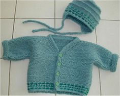 Pattern for cardigan includes an earflap hat.