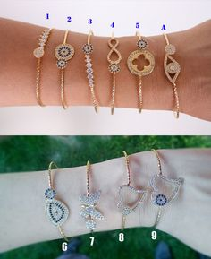 Gold plated bangle braceletbridesmaid braceletStacking BraceletFor charm braceletsWedding party giftsbanglesevil eye bracelet (21.00 USD) by appax