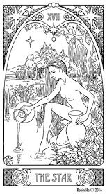 Alphonse Mucha is my all time favorite Art Nouveau artist an. Fairy Coloring Pages, Adult Coloring Pages, Coloring Books, Coloring Sheets, Aquarius, Tarot Card Tattoo, Star Tarot, Botanical Drawings, Book Of Shadows