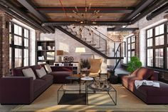 12 Attractive Industrial Living Room Ideas For Sweet Home Design Industrial Interior Design, Industrial Living, Industrial Interiors, Industrial Chic, Modern Interior, Industrial Farmhouse, Farmhouse Design, Small Living Room Design, Living Room Designs
